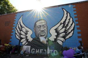 Mural graffiti of George Floyd with angel wings